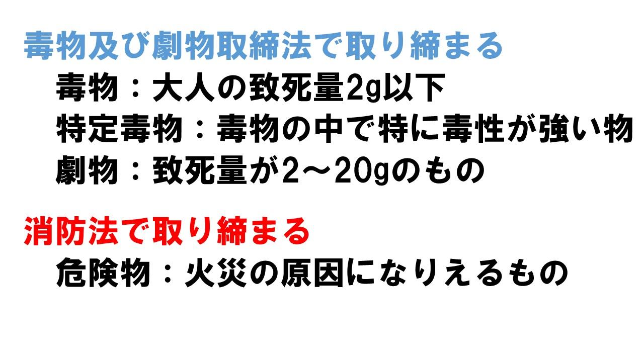 日本の法律で定義された毒物と劇物
